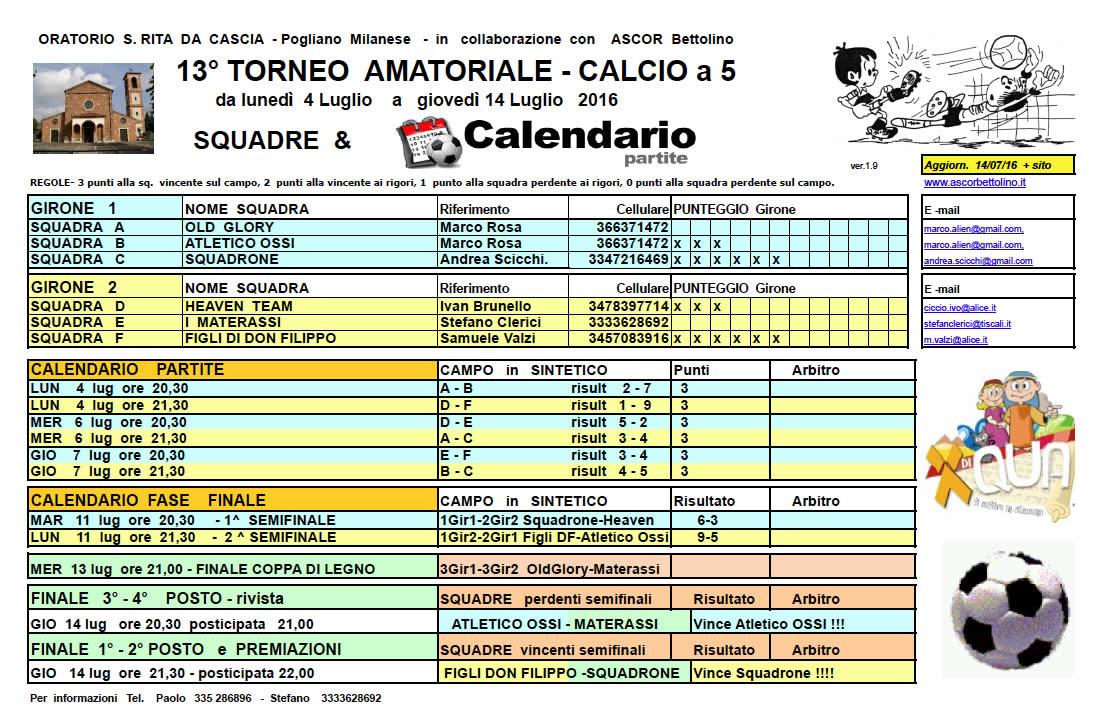 Calendario Torneo A 7 Squadre.Vedi Tornei 2016